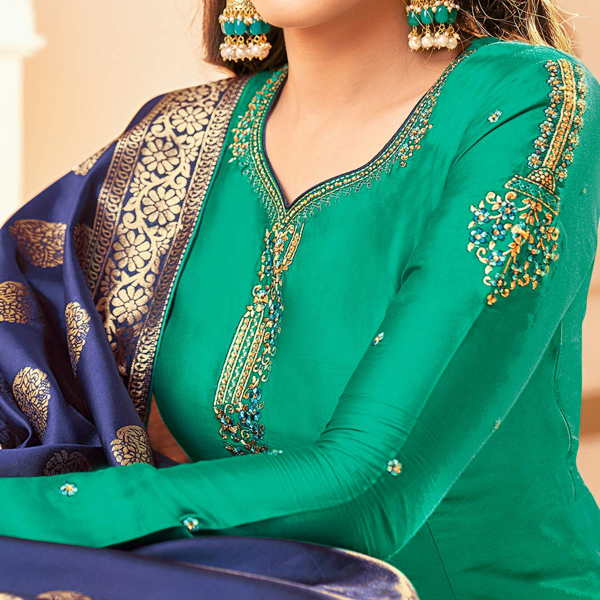 Delightful Turquoise Green Colored Party Wear Embroidered Cotton Silk Salwar Suit