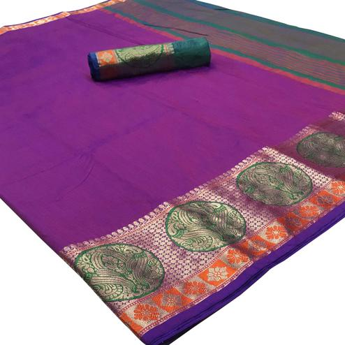 Charming Purple Colored Festive Wear Woven Silk Saree