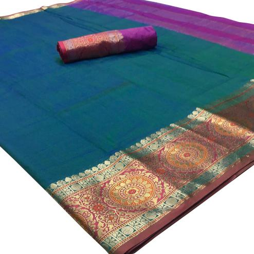 Elegant Turquoise Green Colored Festive Wear Woven Silk Saree