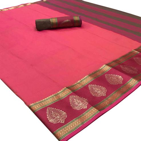 Fuschia Pink Colored Festive Wear Woven Silk Saree