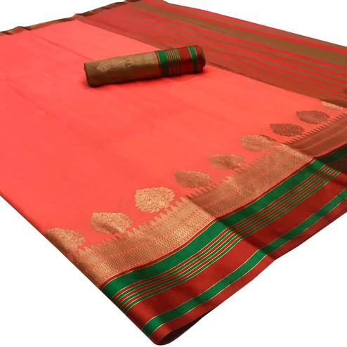 Energetic Peach Colored Festive Wear Woven Silk Saree