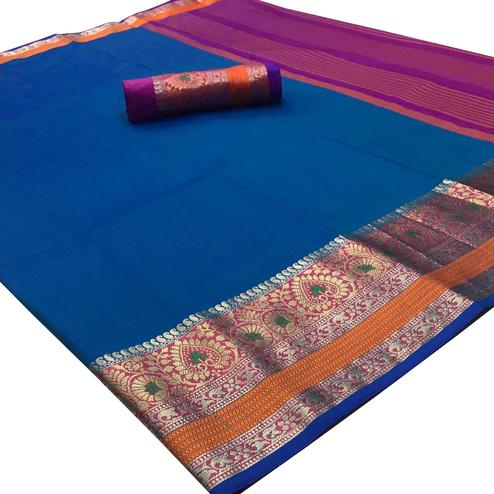 Glowing Blue Colored Festive Wear Woven Silk Saree