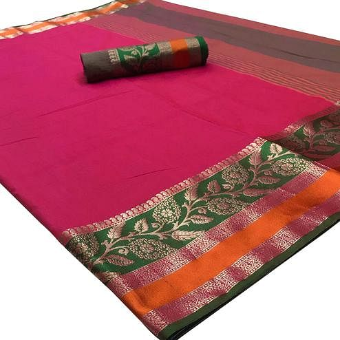 Captivating Pink Colored Festive Wear Woven Silk Saree