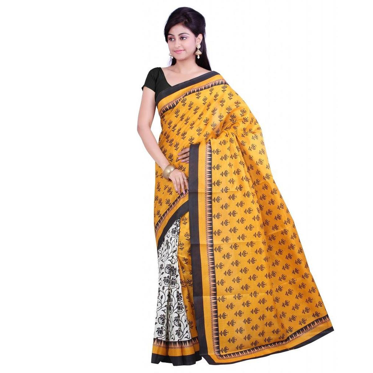 Yellow - White Casual Wear Saree