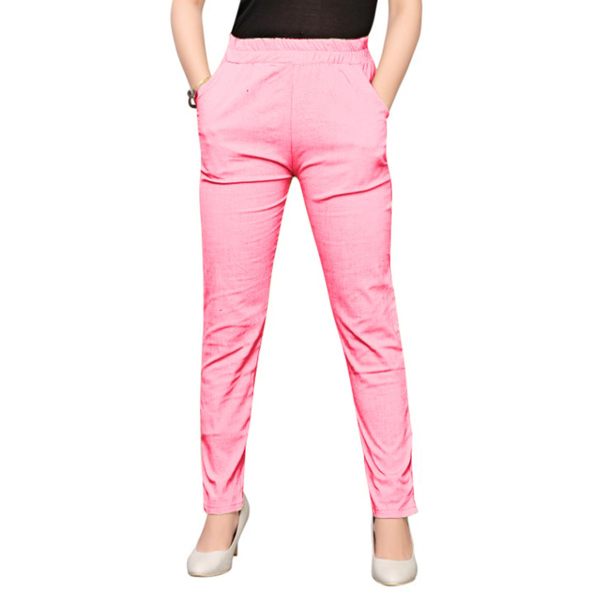 Prominent Light Pink Colored Casual Wear Stretchable Cotton Pant