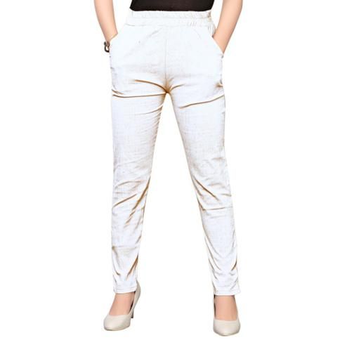 Appealing White Colored Casual Wear Stretchable Cotton Pant