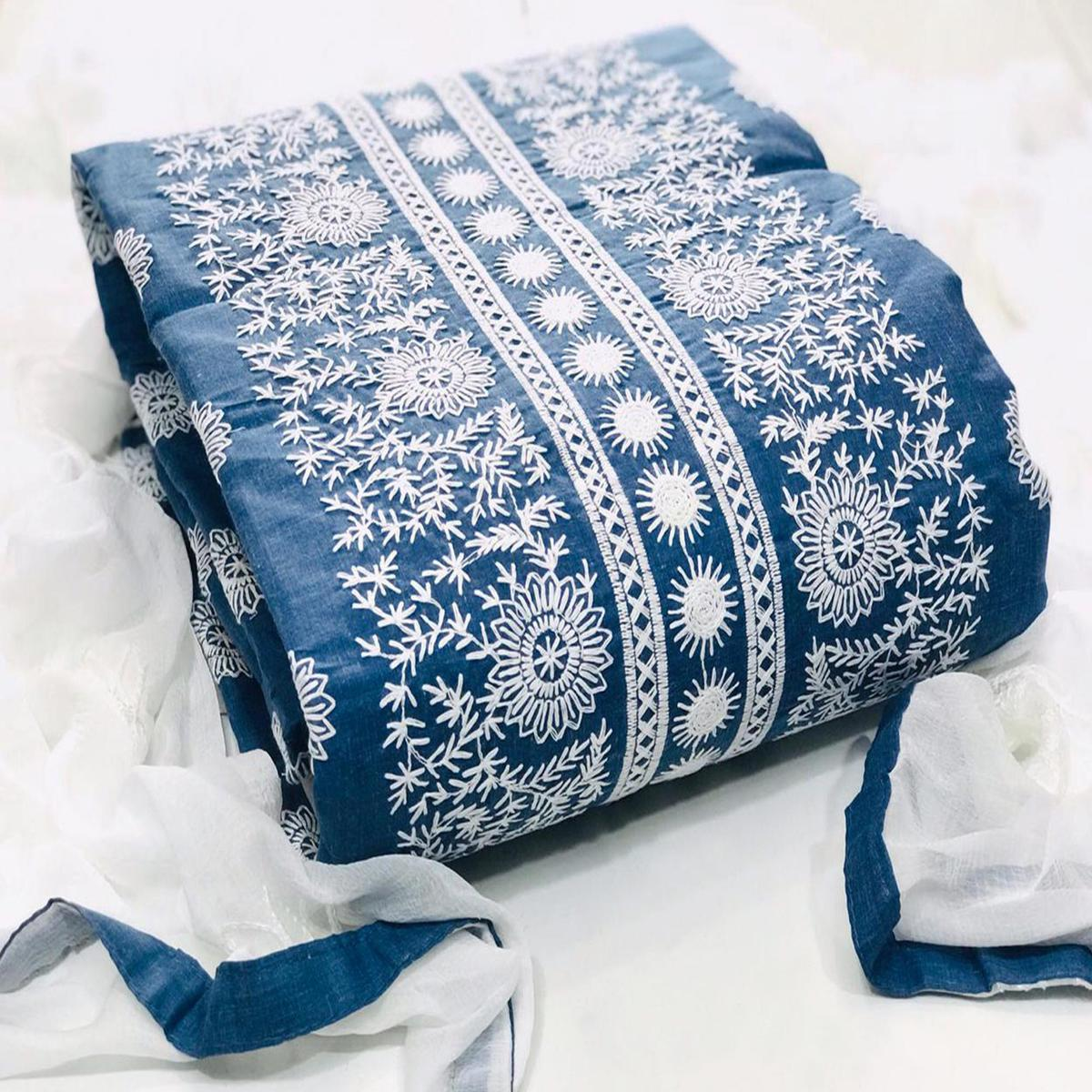 Pleasant Blue-White Colored Partywear Embroidered Cotton Dress Material
