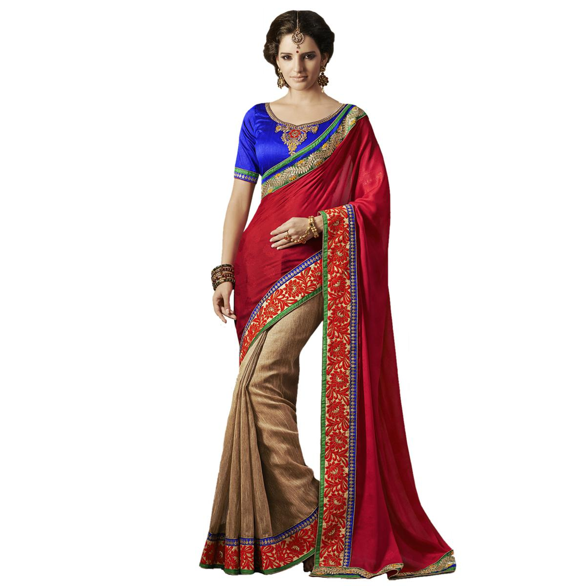 Red - Beige Party Wear Half Saree