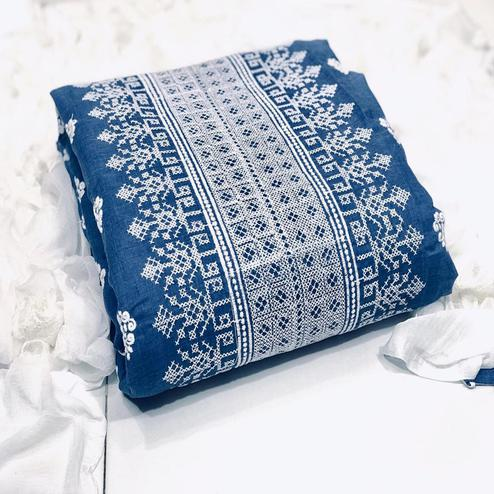 Opulent Blue-White Colored Partywear Embroidered Cotton Dress Material