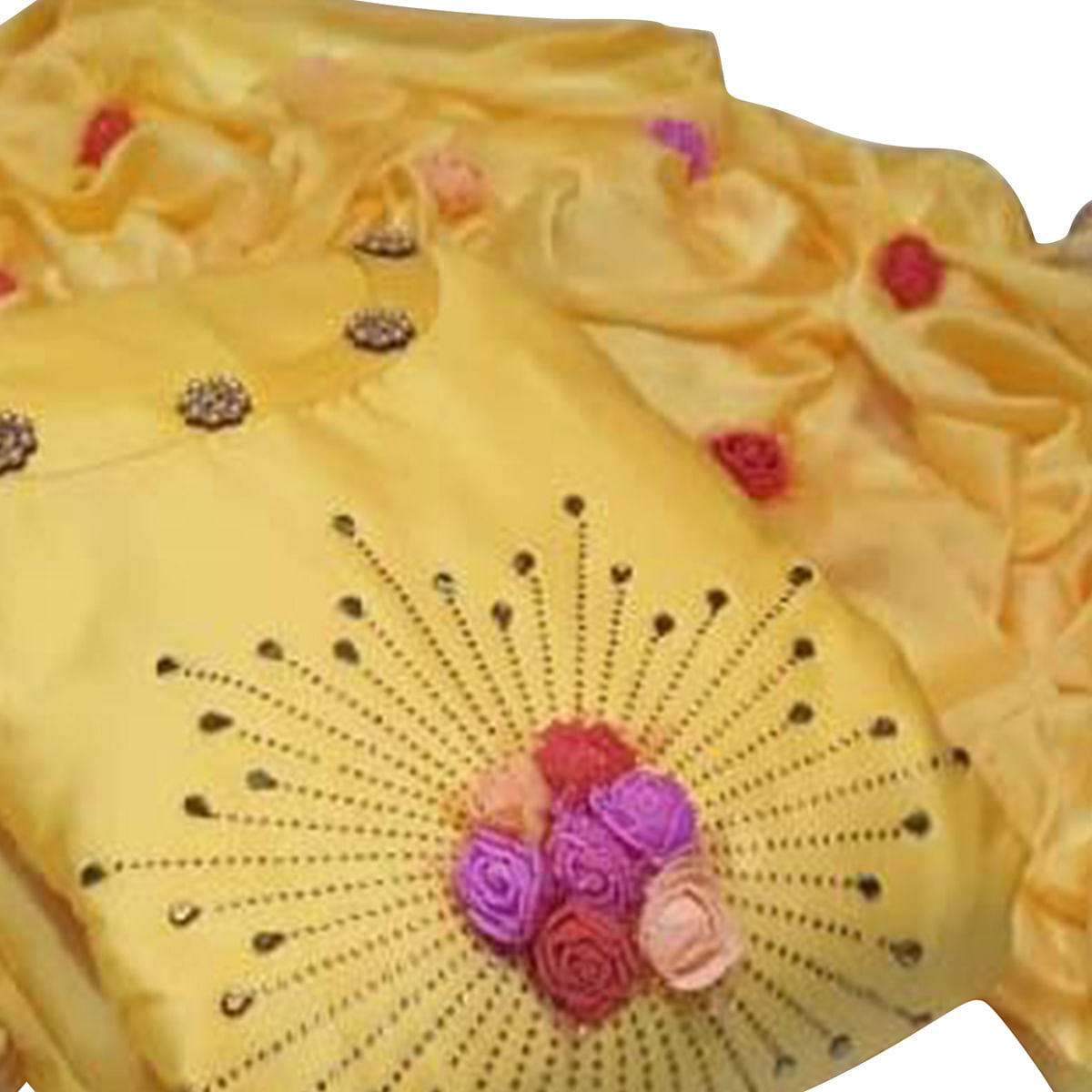 Intricate Yellow Colored Party Wear Embroidered Cotton Dress Material