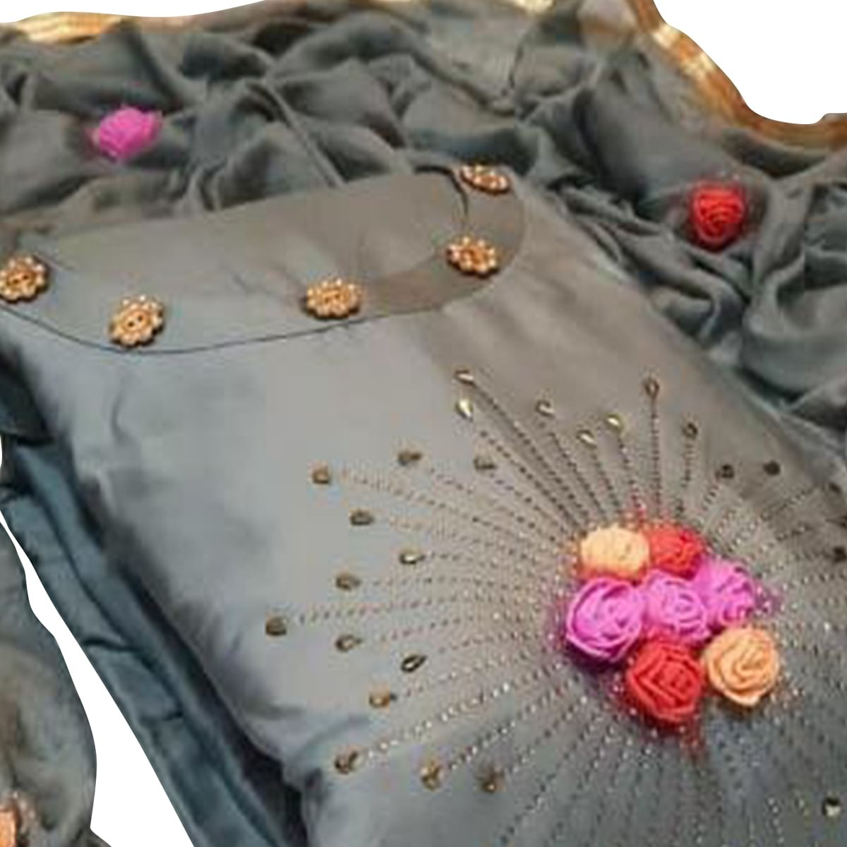 Desirable Grey Colored Party Wear Embroidered Cotton Dress Material