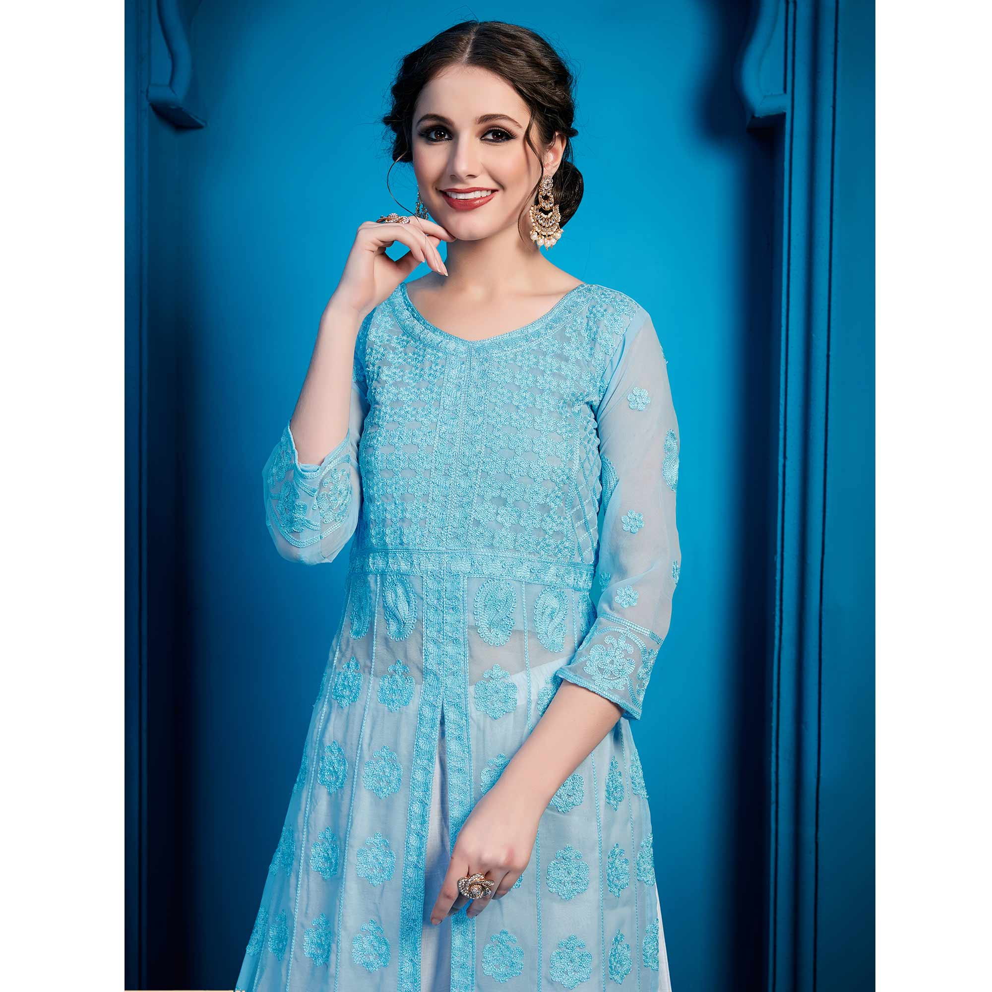 Glorious Sky Blue Colored Party Wear Embroidered Georgette Palazzo Suit