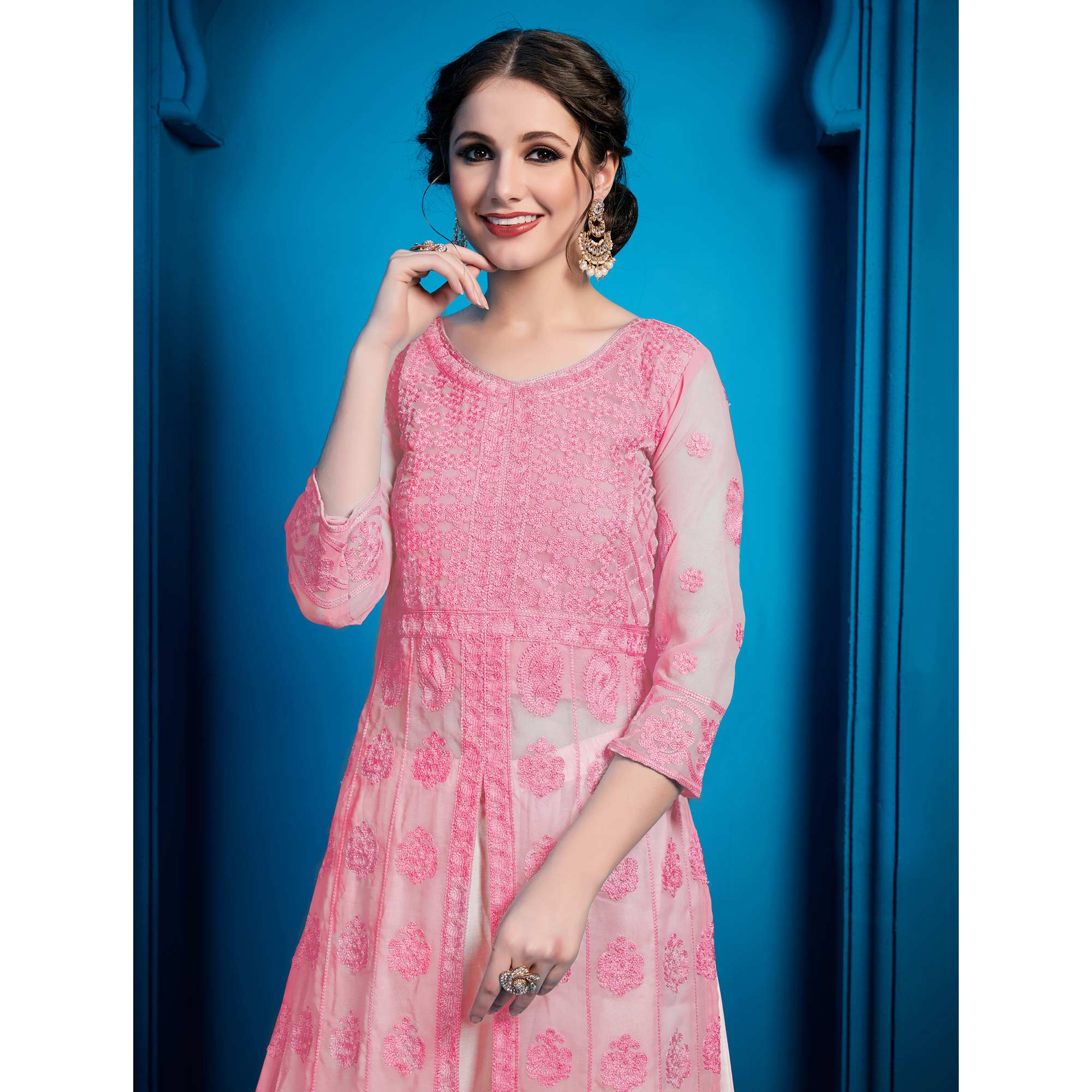 Attractive Pink Colored Party Wear Embroidered Georgette Palazzo Suit
