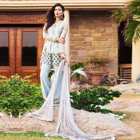 Capricious Light Blue Colored Partywear Embroidered Netted Palazzo Suit