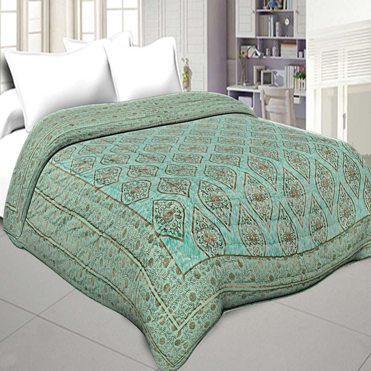 Classy Pista Green Colored Golden With Retro Pattern Jaipuri Printed Double Bed Razai