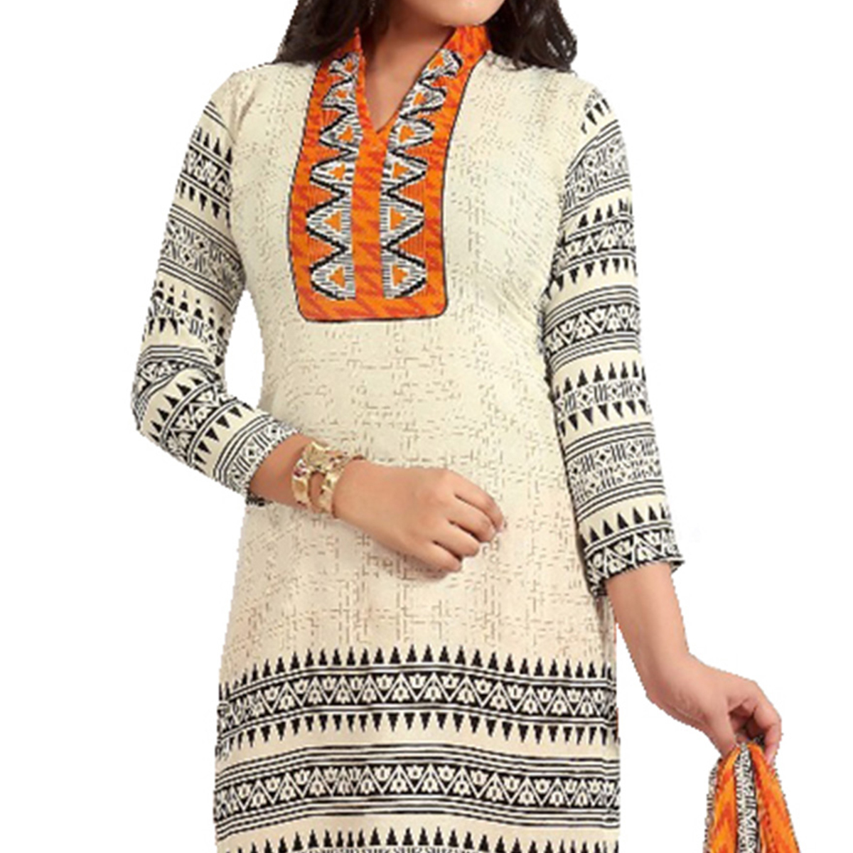 Cream Pure Cotton Unstitched Dress Material