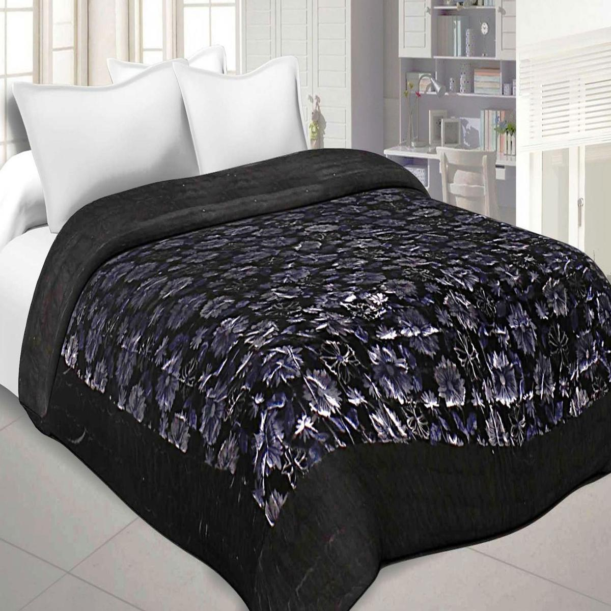 Trendy Black Colored Velvet Cloth Double Bed Quilt Jaipuri Razai
