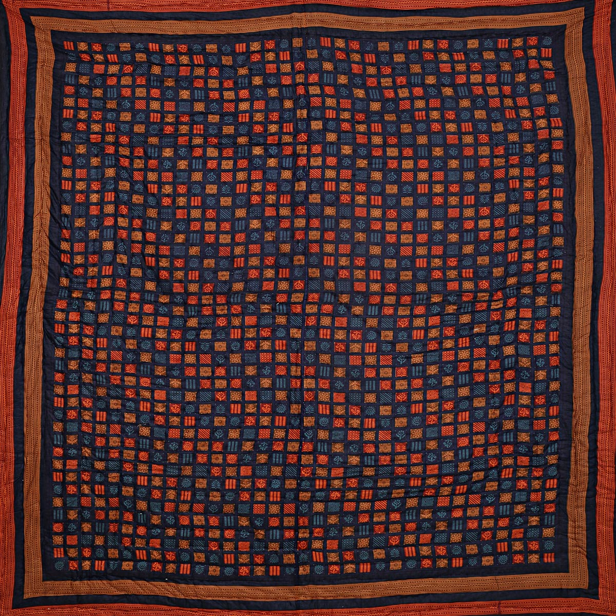 Sophisticated Navy Blue Colored Cotton Double Quilt Spangle Jaipuri Hand Crafted Dabu Print Razai