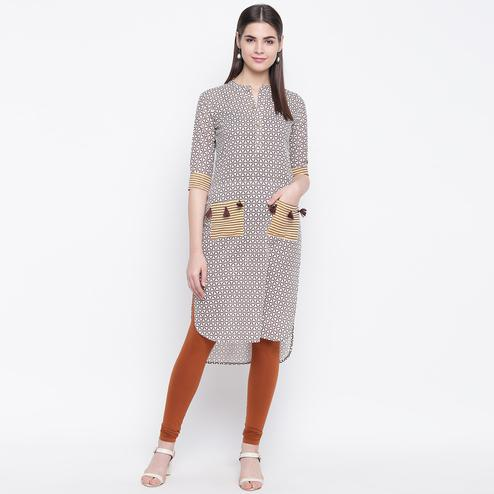 Energetic Brown Colored Casual Wear Printed Cotton Kurti