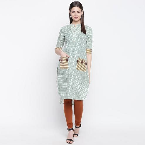 Glorious Green Colored Casual Wear Printed Cotton Kurti