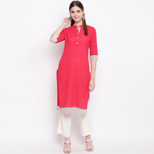 Graceful Pink Colored Casual Wear Printed Cotton Kurti