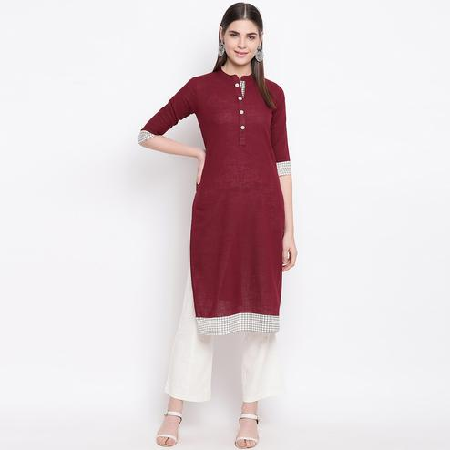Charming Maroon Colored Casual Wear Printed Cotton Kurti