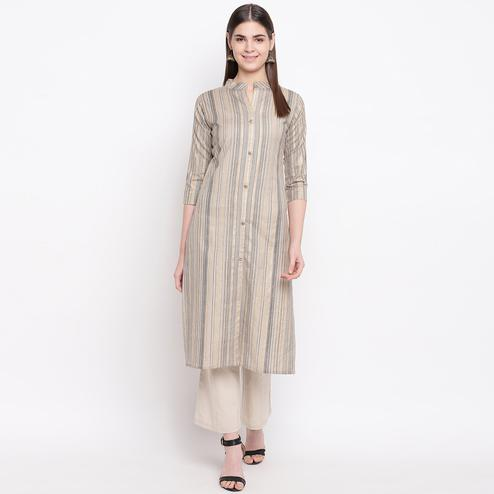 Delightful Dark Beige Colored Casual Wear Printed Cotton Kurti