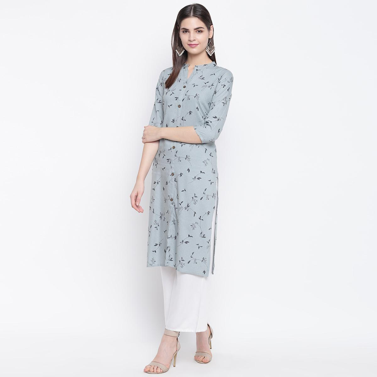 Captivating Grey Colored Casual Wear Printed Cotton Kurti
