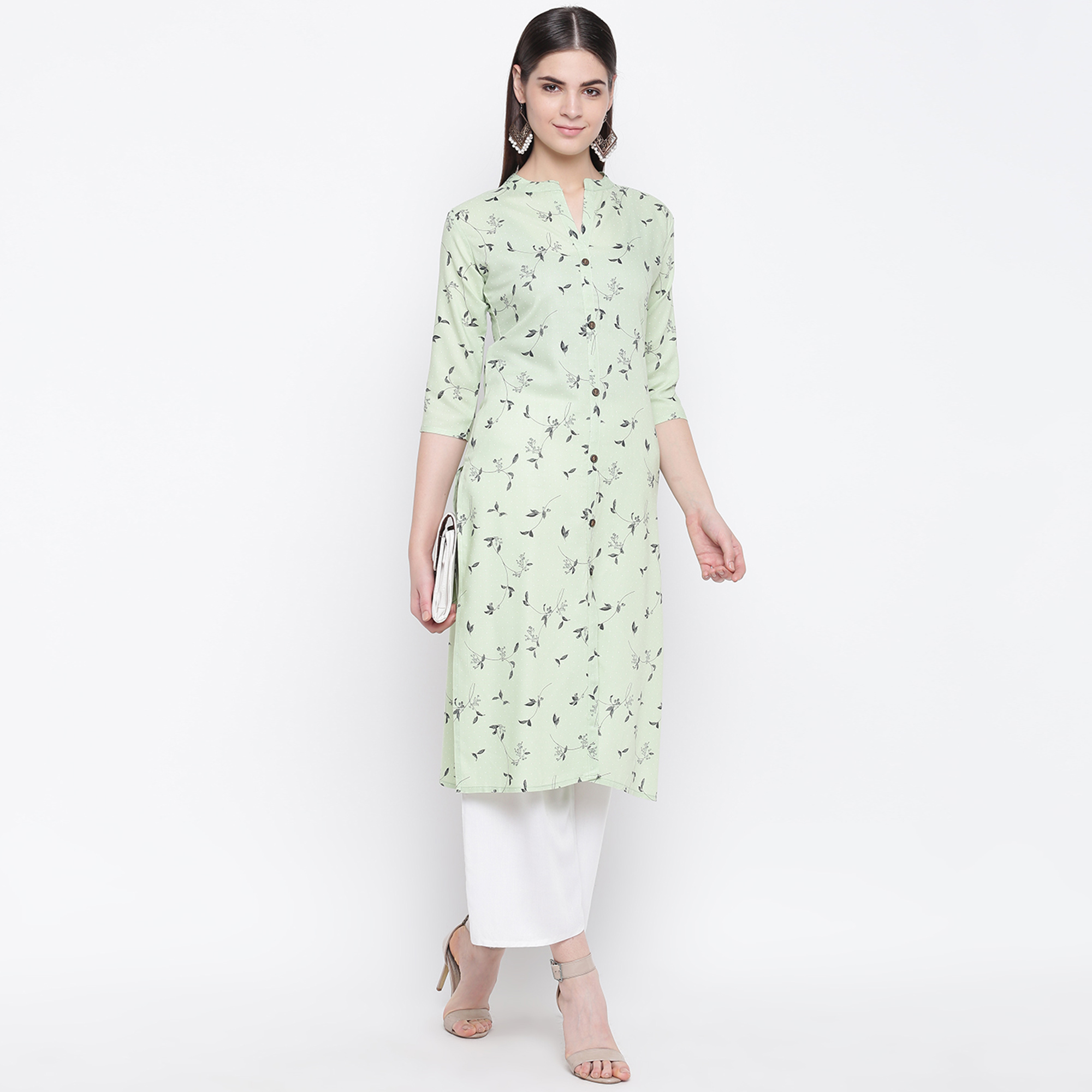 Innovative Light Green Colored Casual Wear Printed Cotton Kurti