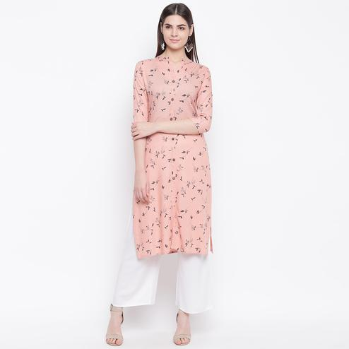 Eye-catching Pink Colored Casual Wear Printed Cotton Kurti