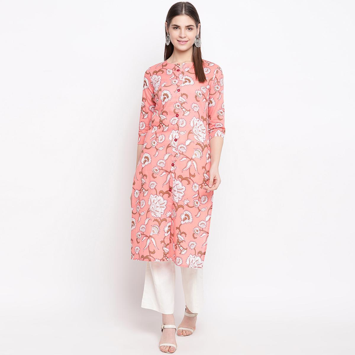 Fantastic Pink Colored Casual Wear Printed Cotton Kurti