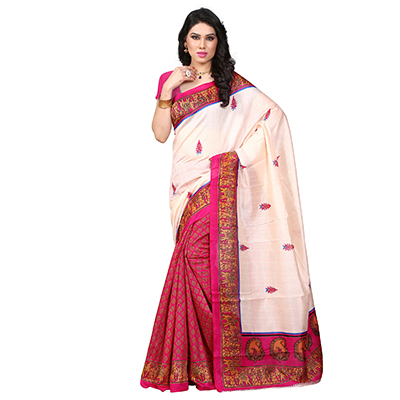 Off White - Pink Casual Saree