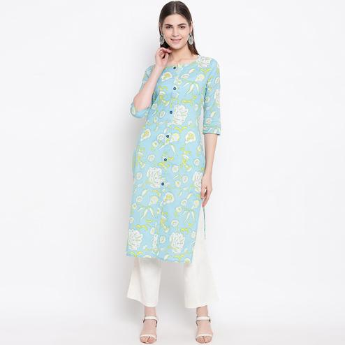 Amazing Light Blue Colored Casual Wear Printed Cotton Kurti