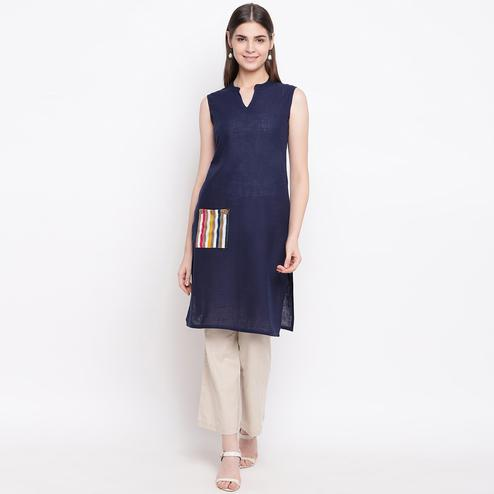 Glorious Navy Blue Colored Casual Wear Cotton Kurti