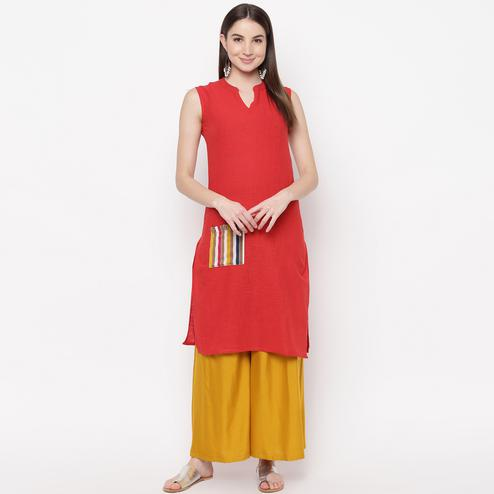 Graceful Red Colored Casual Wear  Cotton Kurti