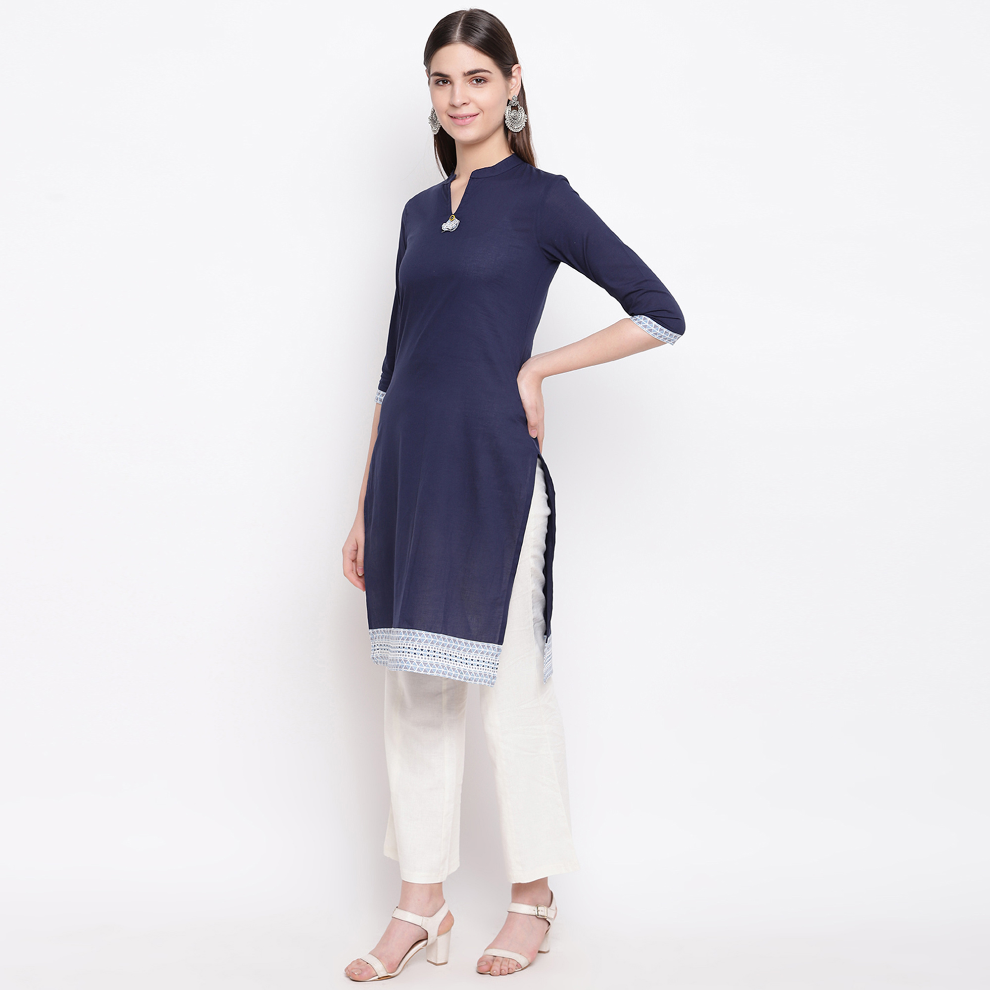 Blooming Navy Blue Colored Casual Wear  Cotton Kurti