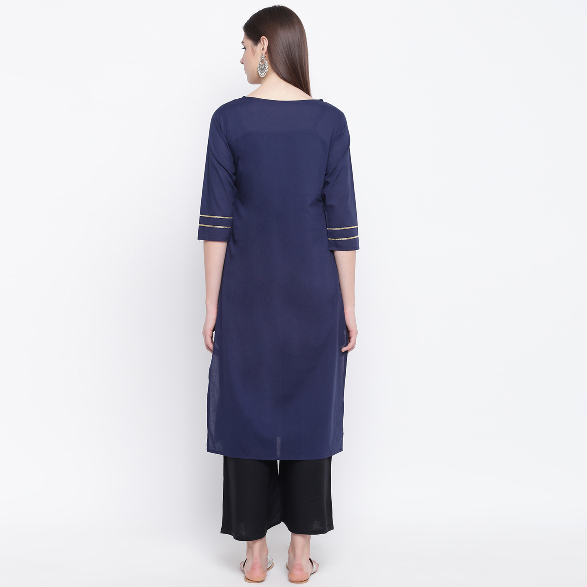 Charming Navy Blue Colored Casual Wear Printed Cotton Kurti
