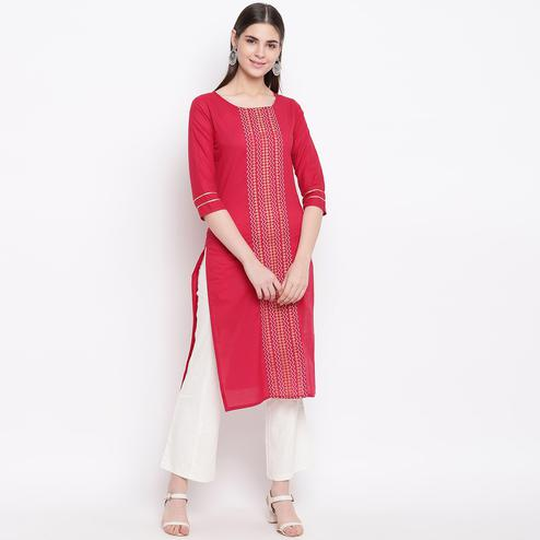 Delightful Red Colored Casual Wear Printed Cotton Kurti