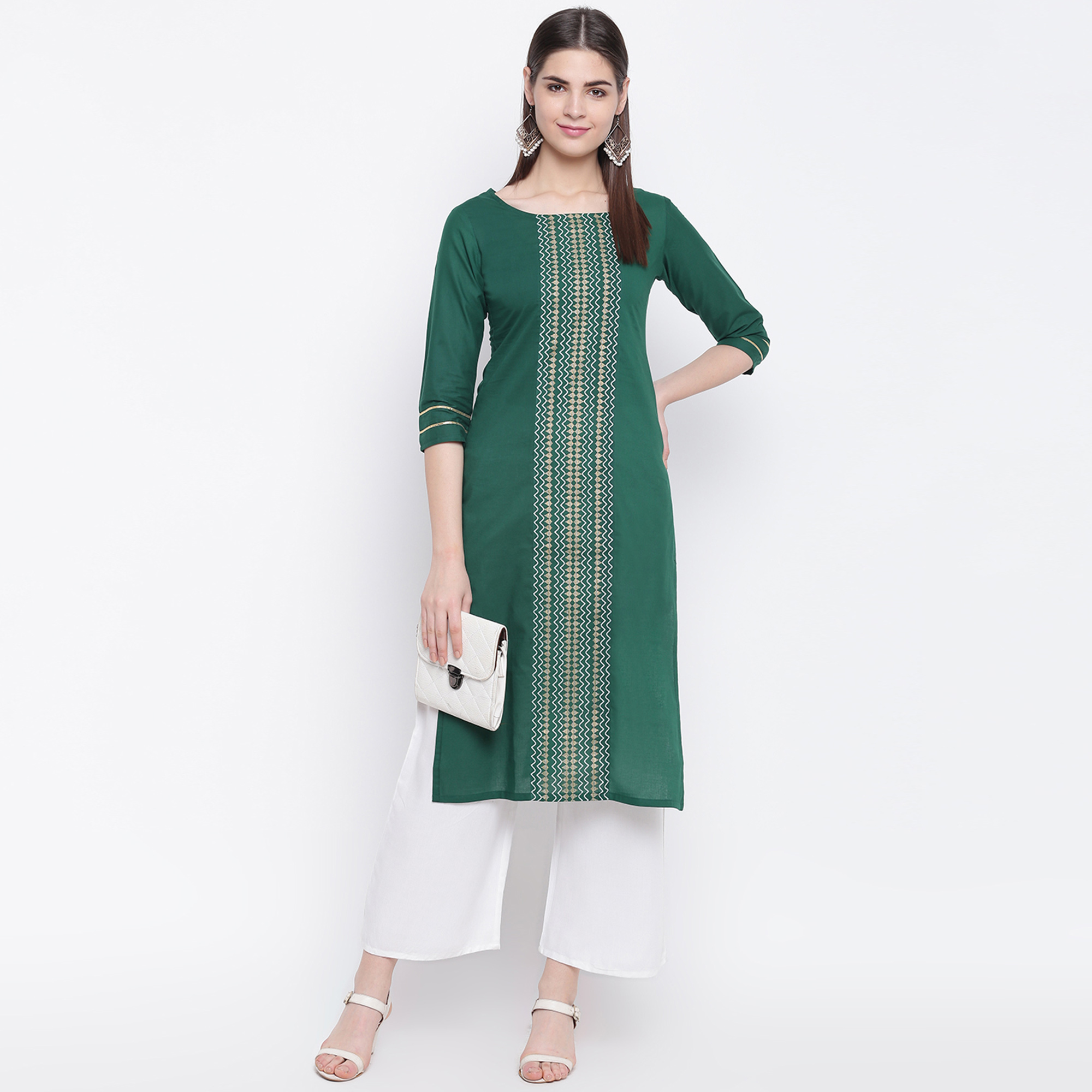 Innovative Green Colored Casual Wear Printed Cotton Kurti