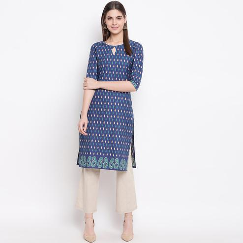 Desirable Navy Blue Colored Casual Wear Printed Cotton Kurti