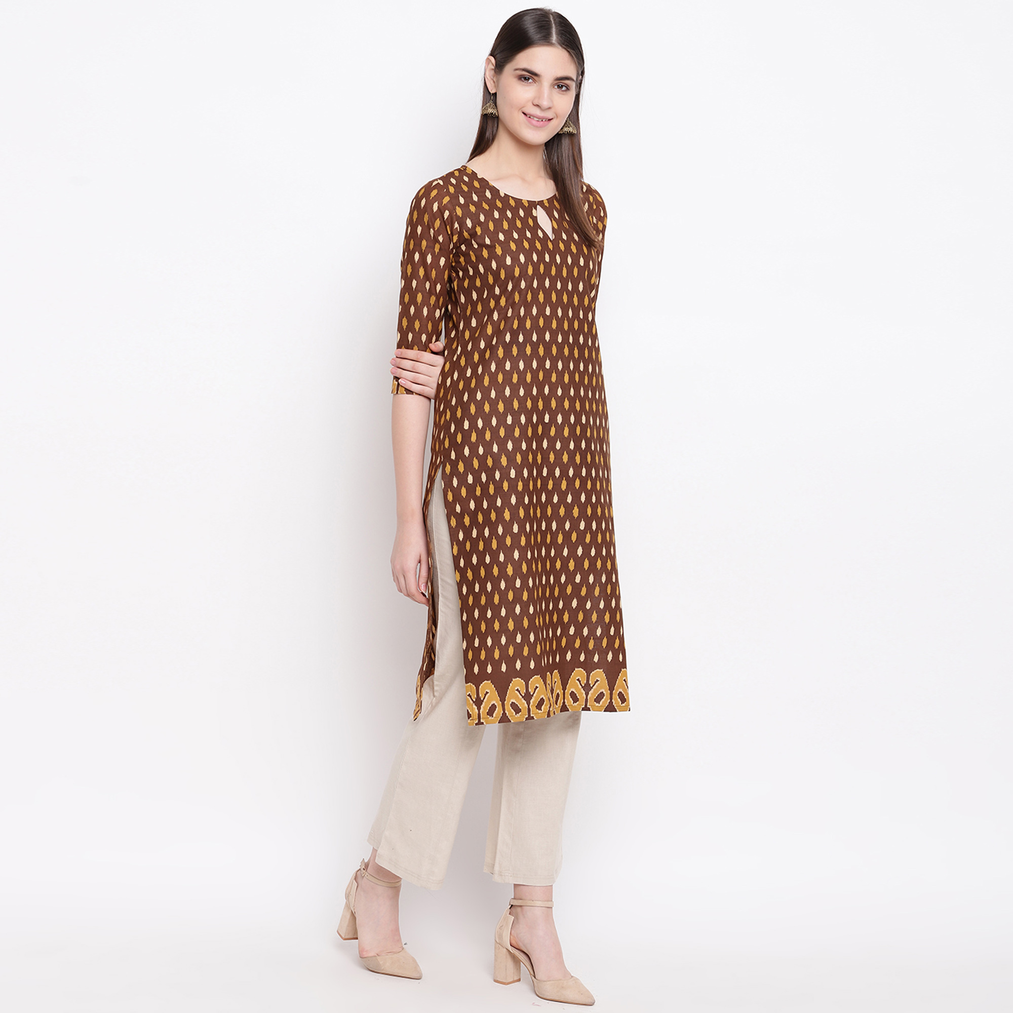 Exotic Brown Colored Casual Wear Printed Cotton Kurti