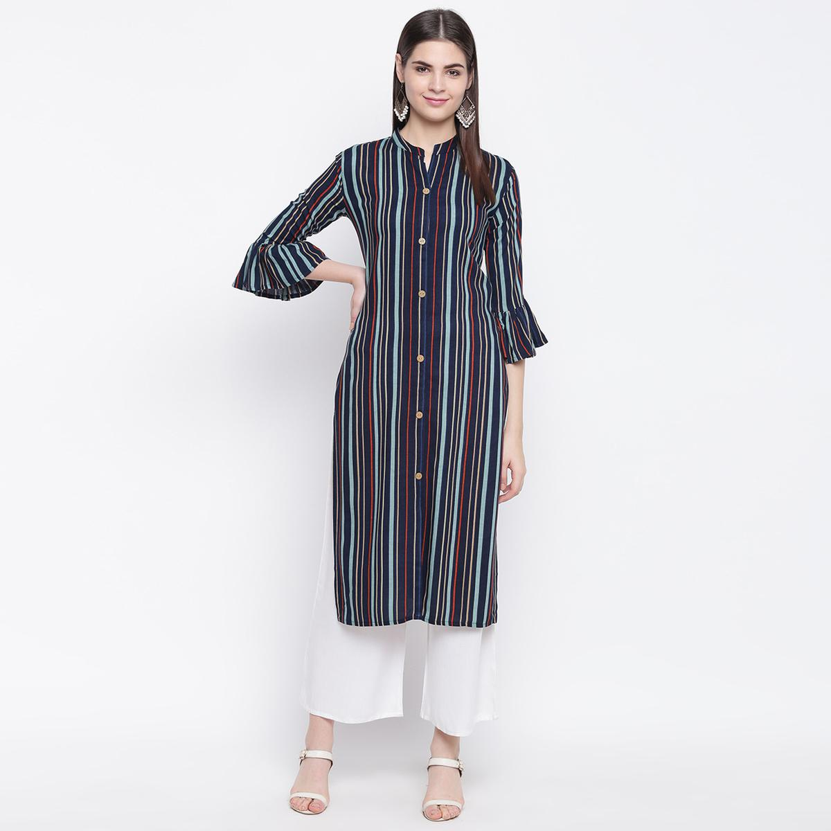 Elegant Navy Blue Colored Casual Wear Printed Cotton Kurti