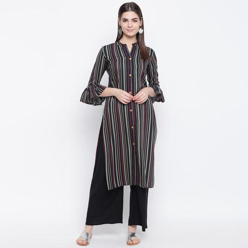 Radiant Black Colored Casual Wear Printed Cotton Kurti