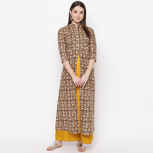 Pleasant Brown-Yellow Colored Casual Wear Printed Cotton Kurti