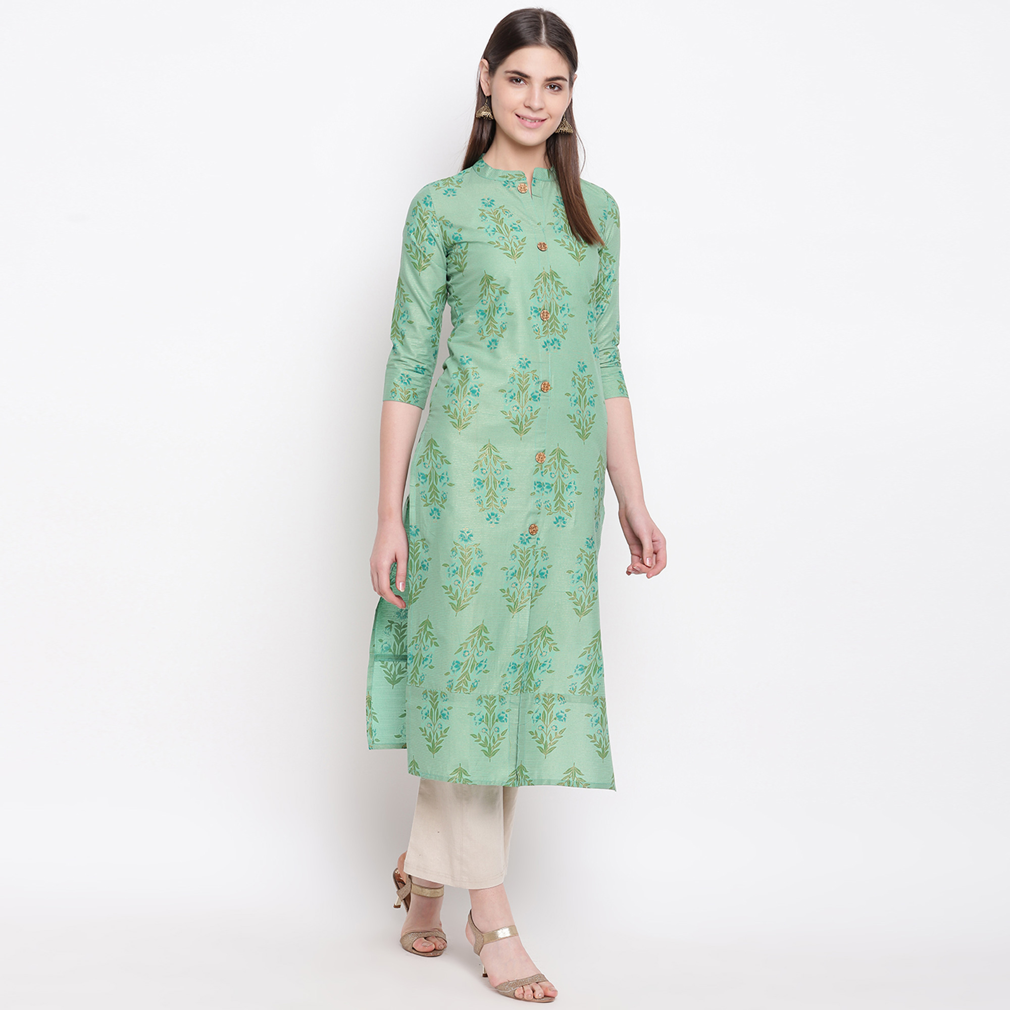 Opulent Turquoise Green Colored Casual Wear Printed Cotton Kurti