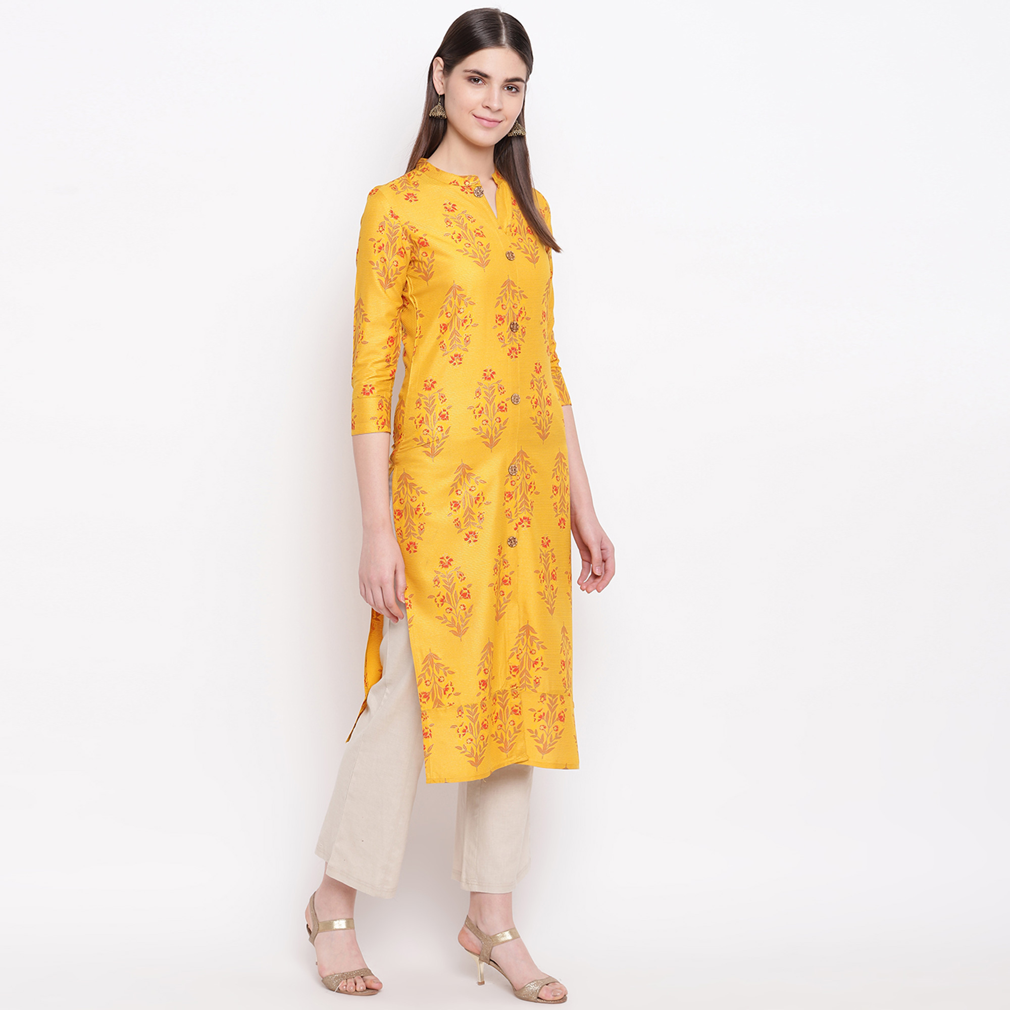Energetic Yellow Colored Casual Wear Printed Cotton Kurti