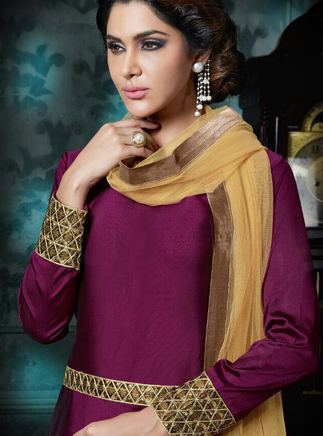 Purple Ankle Length Georgette Suit