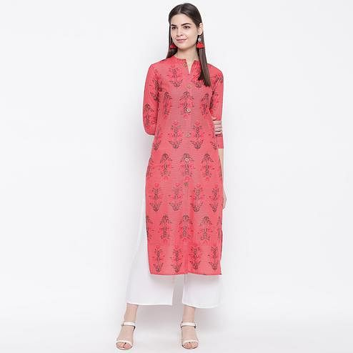Glowing Pink Colored Casual Wear Printed Cotton Kurti