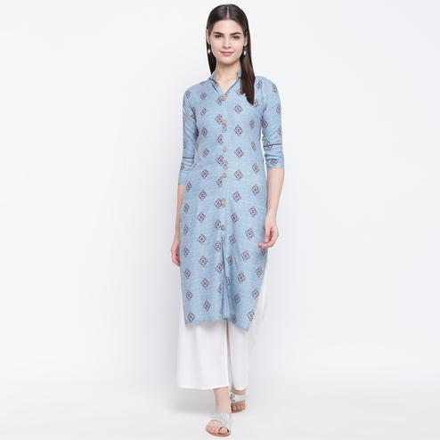Glorious Light Blue Colored Casual Wear Printed Cotton Kurti