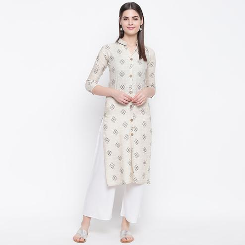 Attractive Off White Colored Casual Wear Printed Cotton Kurti